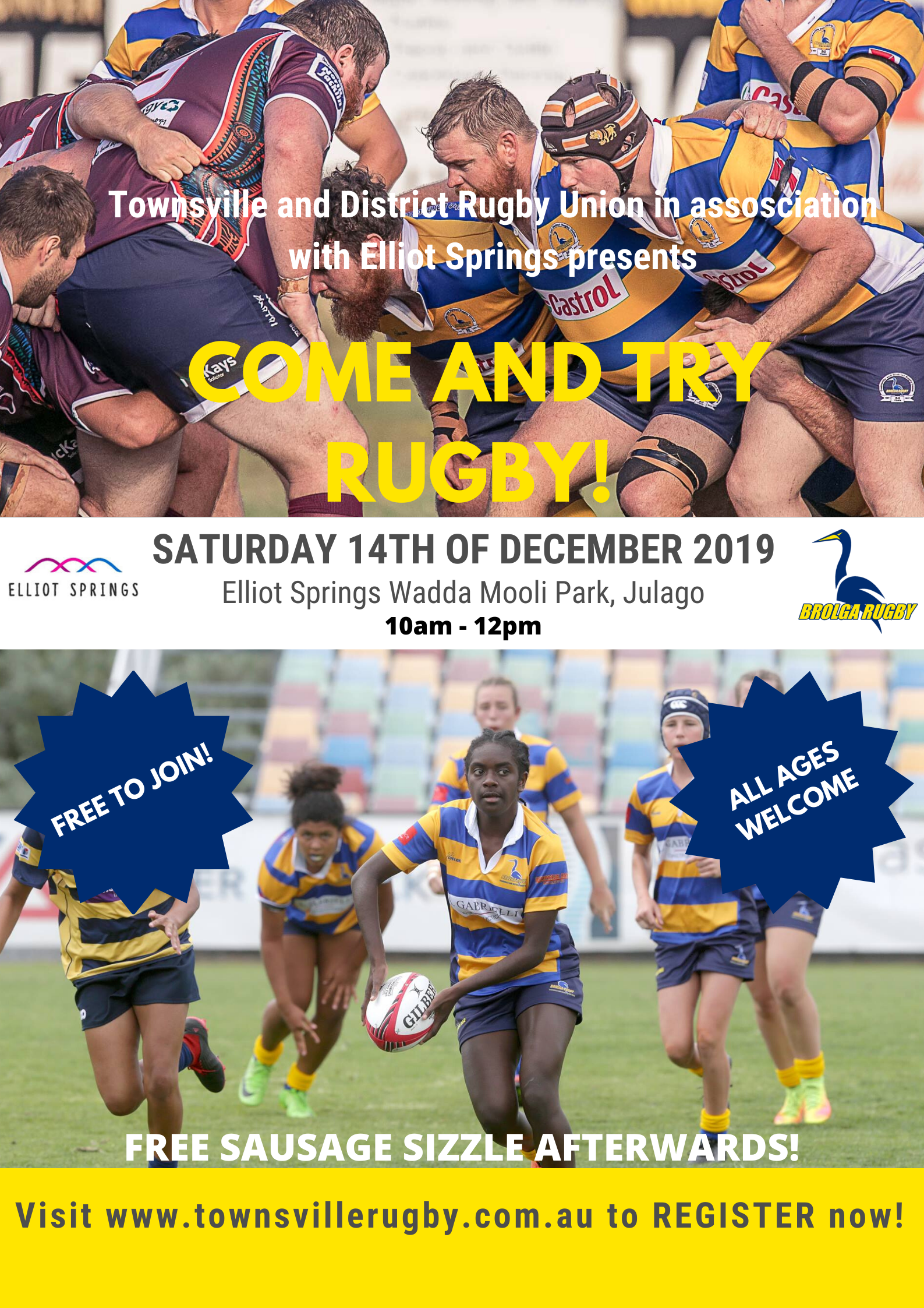 Elliot Springs Come Try Rugby Townsville Districts Rugby Union